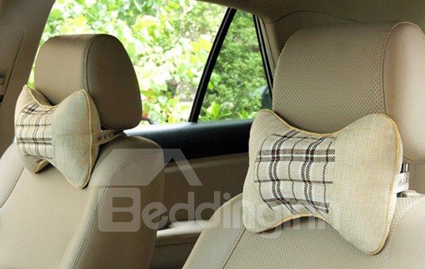 Comfortable Lattice Patterned Linen Neckrest Pillow