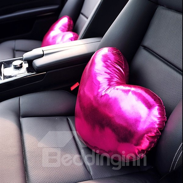 Shiny Pure Colored Heart Shaped Premium Car Neckrest Pillow