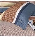 Fashion Concise Gingham Cotton 4-Piece Duvet Cover Sets