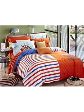 Fancy Concise Stripes Design 4-Piece Duvet Cover Sets