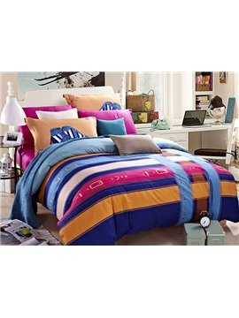 Stripe Design Concise 4-Piece Duvet Cover Sets