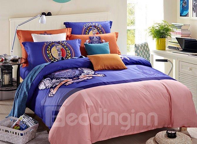 Crown Print European Style 4-Piece Duvet Cover Sets