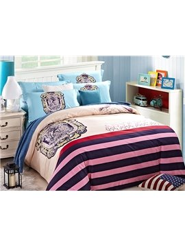 European Style Stripe Reactive Printing 4-Piece Duvet Cover Sets