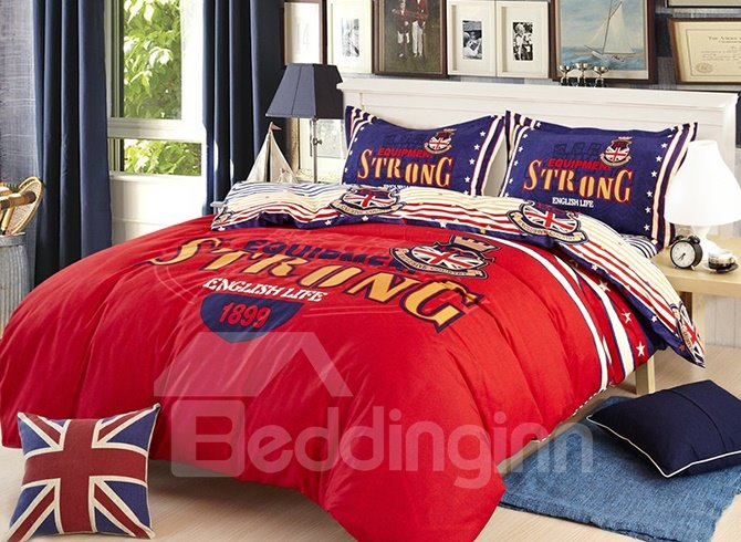 Vintage British Style Red 4-Piece Duvet Cover Sets