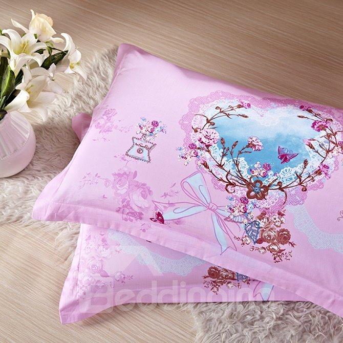 Elegant Flowers Reactive Printing 4-Piece Pink Duvet Cover Sets