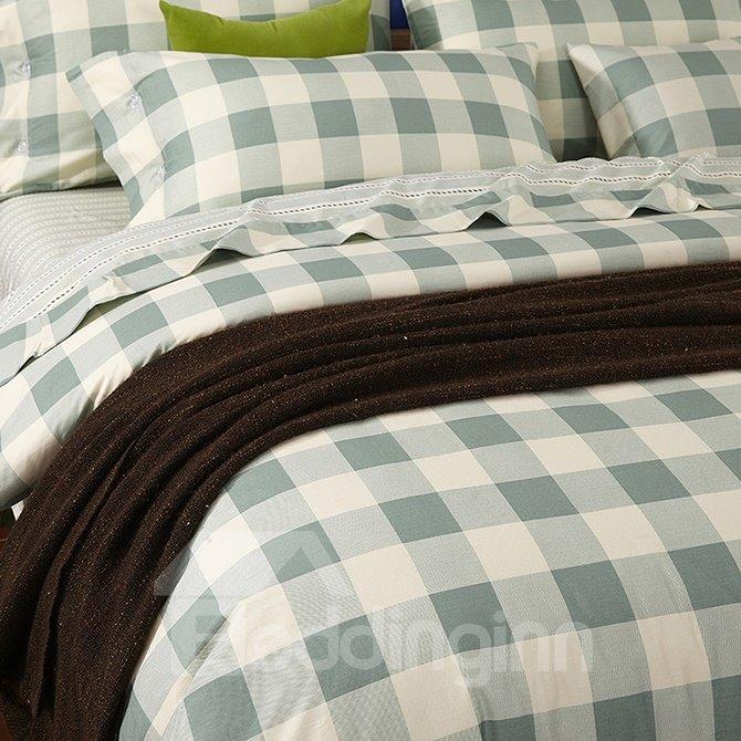 Refreshing Green Plaid Design 4-Piece Duvet Cover Sets