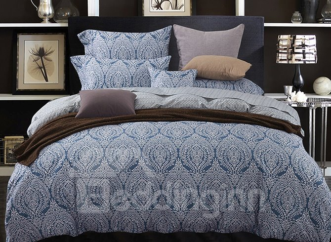 Exotic Jacquard Design Dark Blue 4-Piece Cotton Duvet Cover Sets