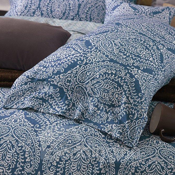 Exotic Jacquard Design Dark Blue 4-Piece Cotton Duvet Cover Sets