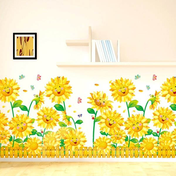 Cartoon Smiling Sunflowers Skirtline Removable Wall Sticker