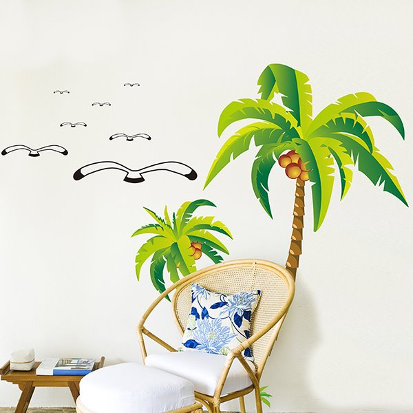 Tropical Palm Tree and Seagull Removable Wall Sticker