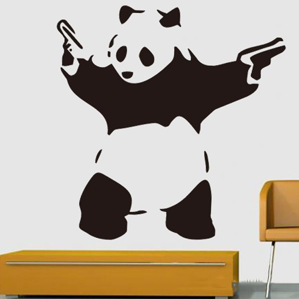 Musketeer Panda Holding Handguns in Both Hands Removable Wall Sticker