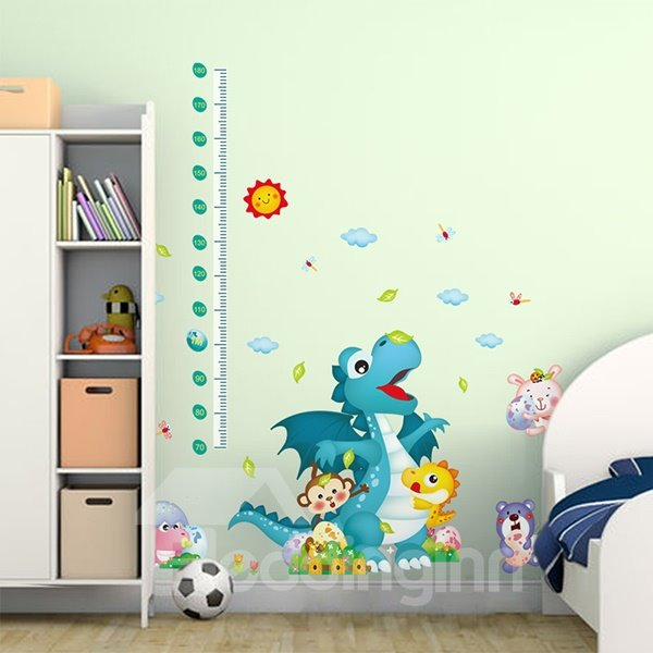 Cartoon Dinosaur Growth Chart Removable Wall Sticker
