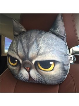 Funny Personalized Unhappy Kitten Face Car Seat Pillows