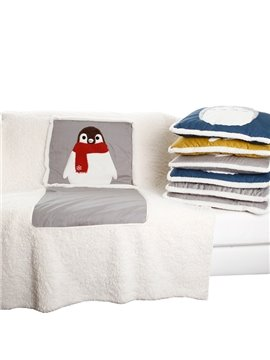 Super Soft Cute Panguin Patterned Convertable Quillow Car Seat Pillow