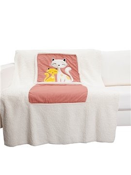 Super Soft Two kitten Patterned Convertable Quillow Car Seat Pillow