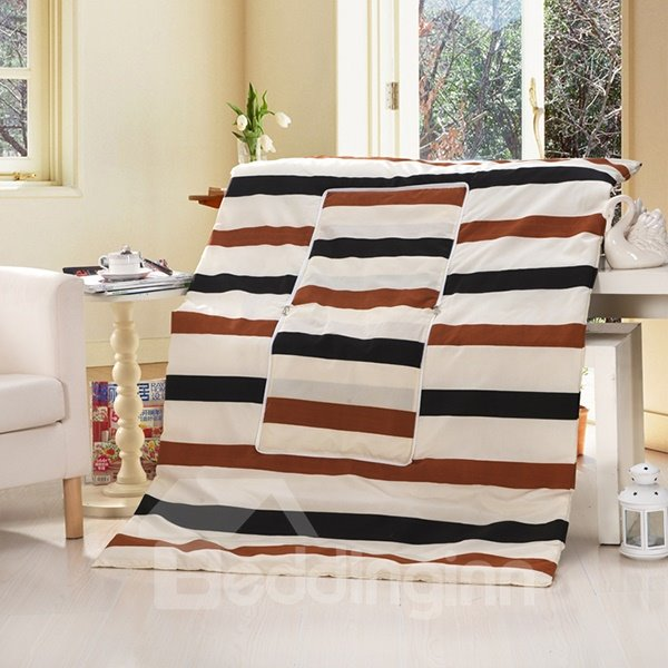 Cozy Triple Colored Stripe Patterned Convertable Blanket Car Pillow