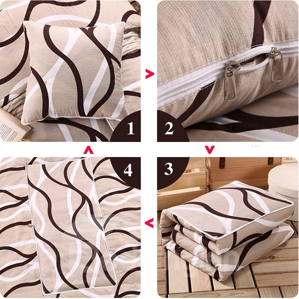 Soft Convertable Quillow Stripes Patterned Blanket Car Pillow