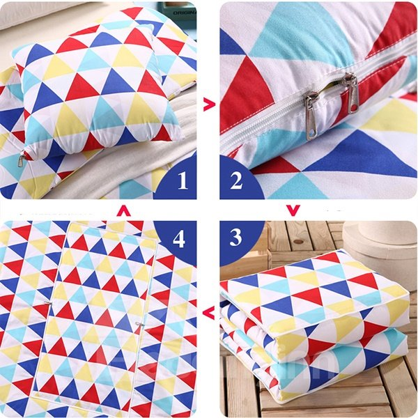 Soft Convertable Quillow Triangular Patterned Blanket Car Pillow