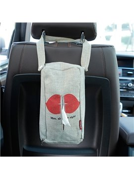 Creative Red Lips Patterned Linen Tissue Box Car Backseat Organizer