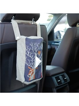 Creative Reindeers Patterned Linen Tissue Box Car Backseat Organizer