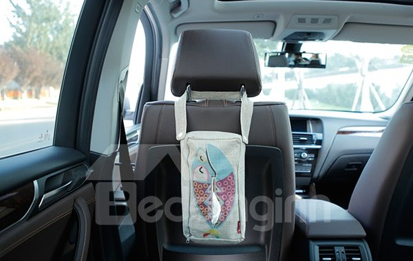 Creative Cheerful Fish Patterned Linen Tissue Box Car Backseat Organizer
