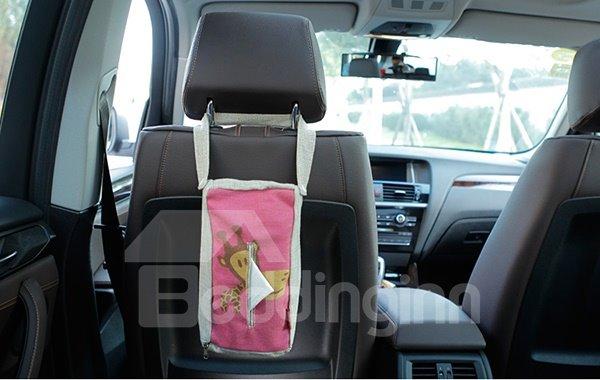 Creative Giraffe Patterned Linen Tissue Box Car Backseat Organizer