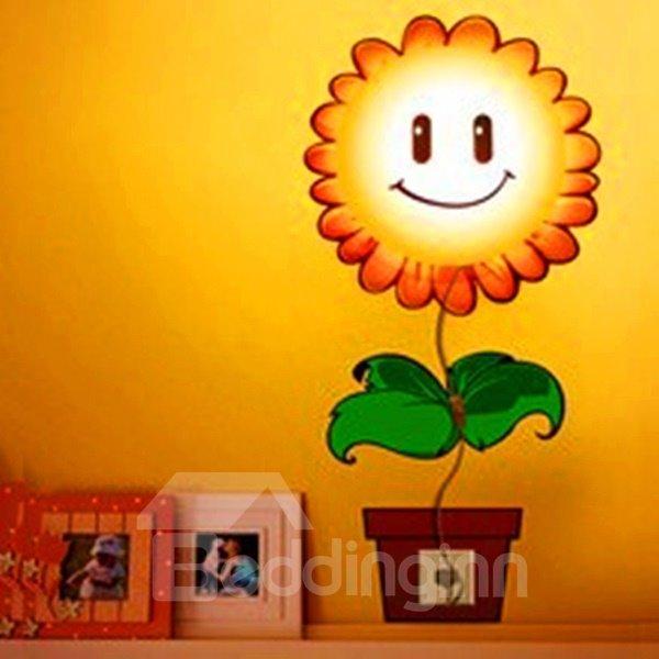 Creative Nursery Sunflower Design 3D Sticker LED Wall Light Nightlight