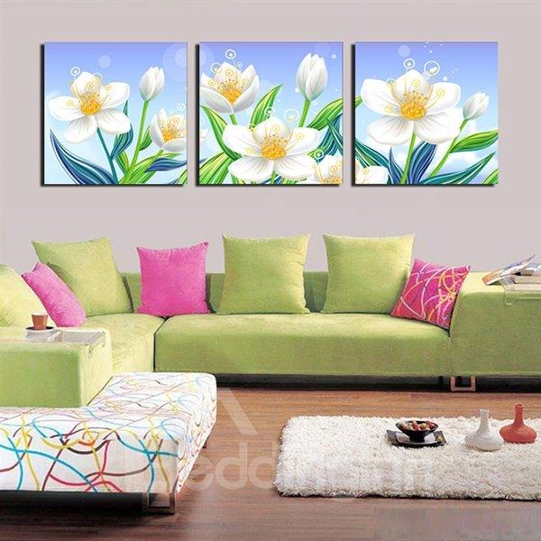 Beautiful White Floral Pattern 3-Panel Canvas Wall Art Prints