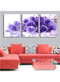 Romantic Purple Roses 3-Panel Canvas Wall Art Prints
