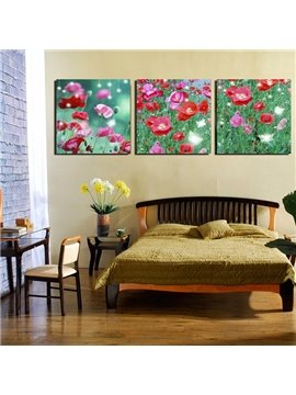 Beautiful Red Flowers in Green Grassland 3-Panel Canvas Wall Art Prints