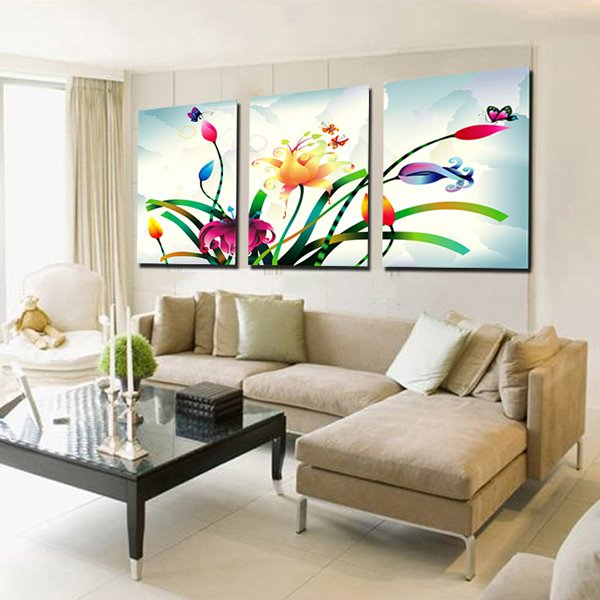 Unique Flowers Painting 3-Panel Canvas Wall Art Prints