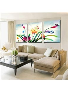 16×24in×3 Panels Flowers Hanging Canvas Waterproof and Eco-friendly Framed Prints