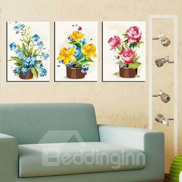 Gorgeous Multi-Color Flower Sets 3-Panel Canvas Wall Art Prints