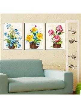 Gorgeous Multi-Color Flower Sets 3-Panel Canvas Wall Art Prints
