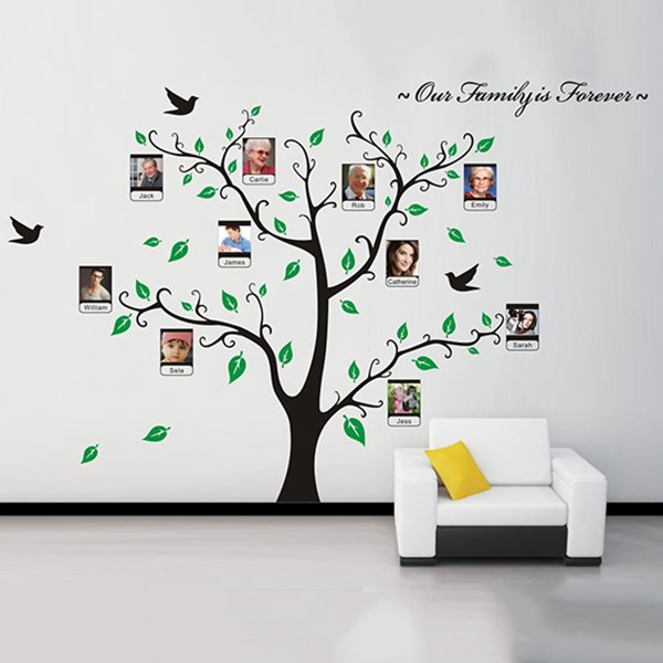 Family is Forever Green Leaf Tree Design Wall Photo Frame Removable Wall Sticker
