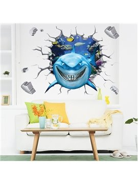 Cartoon Shark Through a Hole Nursery Removable 3D Wall Sticker