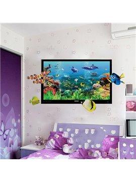 Cartoon Sea World Colorful Sea Fishes Nursery Removable 3D Wall Sticker