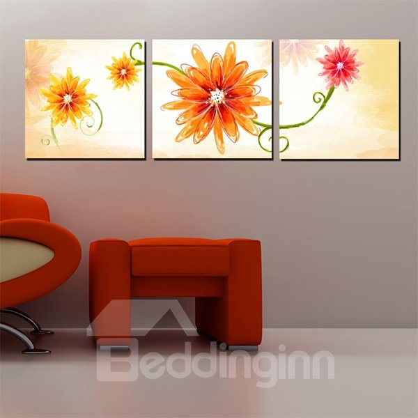 Beautiful Simple Flower Pattern Canvas 3-Panel Wall Art Prints