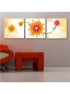 Beautiful Simple Flower Pattern Canvas 3-Panel Wall Art Prints