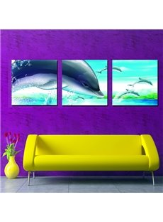 Wonderful Dolphins Bedroom Nursery Canvas 3-Panel Wall Art Prints