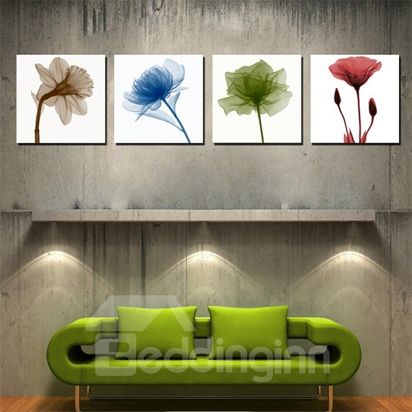 Fantastic Abstract 4-Color Flowers Canvas 4-Panel Wall Art Prints