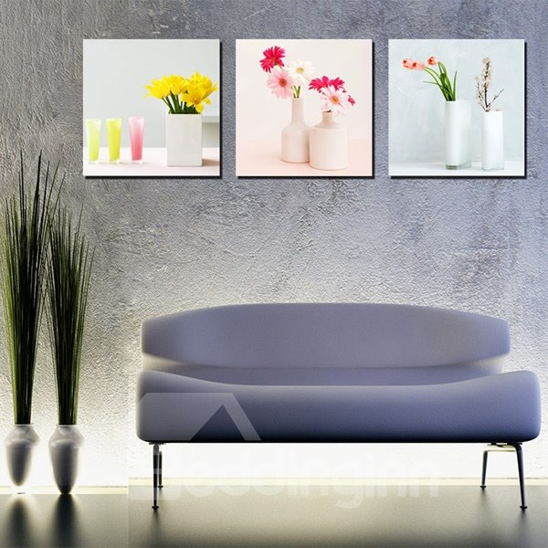 Wonderful Flowers in Vase Canvas 3-Panel Wall Art Prints