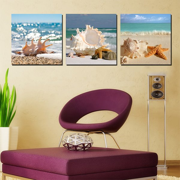 Wonderful Beach Seashells and Stafish Canvas 3-Panel Modern Art Prints