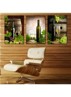 Elegant and Modern Wine Bottle and Glasses and Grapes Canvas 3-Panel Wall Art Prints