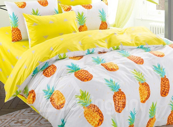 100% Cotton Lovely Pineapple Pattern Kids Duvet Cover Set
