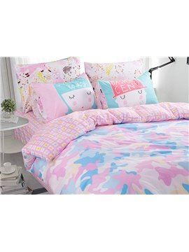 Lovely Pink Light Camouflage Pattern Kids Duvet Cover Set