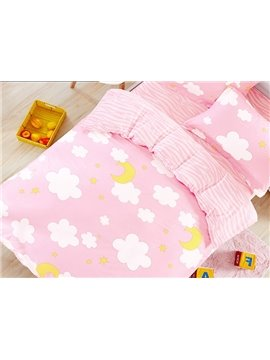 100% Cotton Lovely Clouds and Moon Pattern Kids Duvet Cover Set