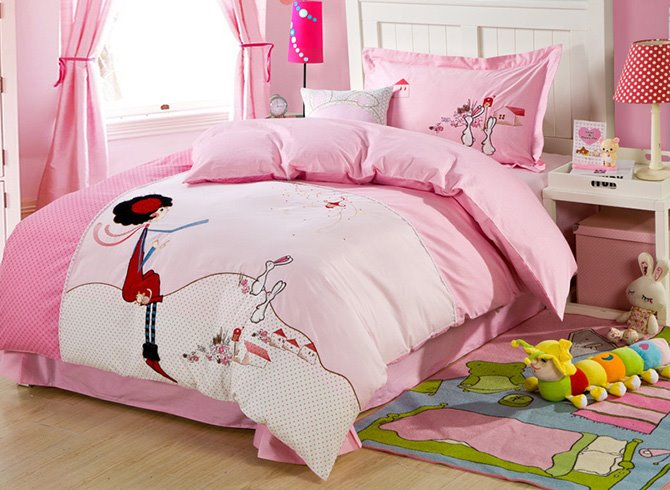 Girl and Rabbit Embroidered Cotton Kids Duvet Cover/Bedding Sets