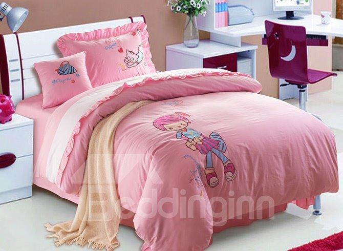 100% Cotton Lovely Sweet Girl Print Kids Duvet Cover Set