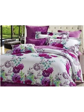 Noble Purple Flowers Print Cotton 4-Piece Duvet Cover Sets